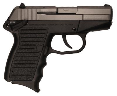 The Skyy Industries CPX-1 is a small, double-action-only, 9mm handgun.